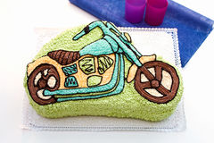 Motorcycle (child) cake. Delicious marzipan motorcycle (child) cake Stock Images