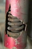 Motorcycle chock absorber rusty crack. Broken Royalty Free Stock Photo