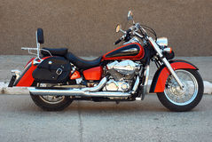 Motorcycle. Chopper motorcycle parked on the road Royalty Free Stock Image