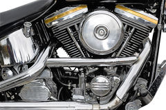 Motorcycle chrome. Details of the engine of a motorcycle chrome Royalty Free Stock Photos