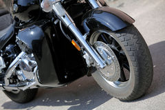Motorcycle with a chrome engine Stock Photo