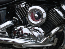Motorcycle chrome engine Stock Images