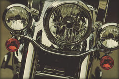Motorcycle Chrome Headlamps Stock Images