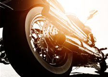 Motorcycle. With chrome ports low angle photograph with close-up on exhaust stock photos