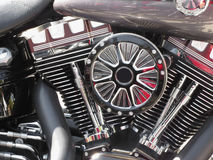 Motorcycle chromed engine closeup detail background Royalty Free Stock Image
