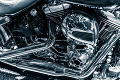Motorcycle chromium engine exhaust pipes art photography Royalty Free Stock Images
