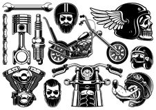 Motorcycle clipart with 12 elements on white background. Set of 12 monochrome elements of motocycle VERSION ON WHITE BACKGROUND. Isolated, text is on the Royalty Free Stock Photography