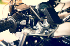 Motorcycle. Close up motorcycle hand and switch Royalty Free Stock Image