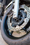Motorcycle wheel detail Royalty Free Stock Images