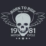 Motorcycle clothes graphics. Skull with wings. Racer vintage apparel vector illustration