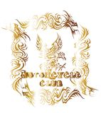 Motorcycle club. Consisting of an eagle and the environment within the framework of the baroque flower graphic royalty free illustration