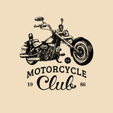 Motorcycle club advertising poster.Vector hand drawn chopper for MC label. Vintage detailed custom bike garage logo etc. Motorcycle club advertising poster Stock Photography