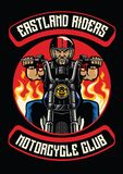 Motorcycle club badge of old man ride motorcycle Royalty Free Stock Images