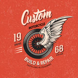 Motorcycle Club Emblem. With winged wheel white and black inscriptions on terracotta grungy background vector illustration Royalty Free Stock Image