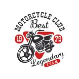 Motorcycle club logo, best legendary team, design element for motor or biker club, motorcycle repair shop, print for. Clothing vector Illustration isolated on a Stock Photo