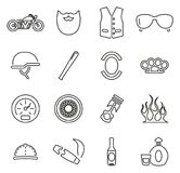 Motorcycle Club or Motorcycle Gang Icons Thin Line Vector Illustration Set. This image is a vector illustration and can be scaled to any size without loss of Royalty Free Stock Images