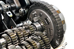 Motorcycle clutch with drive chain and gears. Stock Photos