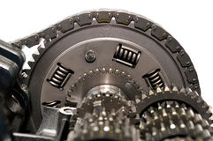 Motorcycle clutch with drive chain and gears. Stock Photography