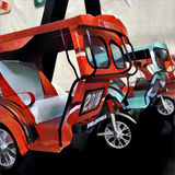 Motorcycle with coach toy. Traditional asian transport - tuktuk, or tricycle. stock illustration