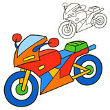 Motorcycle. Coloring Book Page Stock Images