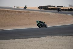 Motorcycle competition on a race track on. A training day b.b stock photography