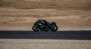 Motorcycle competition on a race track on. A training day b.b stock photo