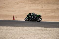 Motorcycle competition on a race track on. A training day b.b stock images