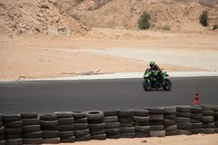 Motorcycle competition on a race track on. A training day b. b royalty free stock image