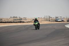 Motorcycle competition on a race track on. A training day b.b royalty free stock photo