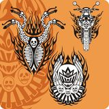Motorcycle compositions - set 11. Motorcycle compositions with use of a flame, engines, exhaust pipes and skulls Royalty Free Stock Image