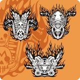 Motorcycle compositions - set 13. Motorcycle compositions with use of a flame, engines, exhaust pipes and skulls Stock Photo