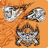 Motorcycle compositions - set 14. Motorcycle compositions with use of a flame, engines, exhaust pipes and skulls Stock Photo