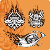 Motorcycle compositions - set 4. Motorcycle compositions with use of a flame, engines, exhaust pipes and skulls Stock Image