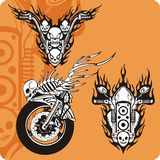 Motorcycle compositions - set 5. Motorcycle compositions with use of a flame, engines, exhaust pipes and skulls Royalty Free Stock Image