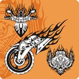 Motorcycle compositions - set 6. Motorcycle compositions with use of a flame, engines, exhaust pipes and skulls Stock Photo