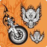 Motorcycle compositions - set 9. Motorcycle compositions with use of a flame, engines, exhaust pipes and skulls Stock Photo