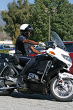 Motorcycle Cop. Police trained in roving traffic stops for the Trial Run of the 2011 Redlands Classic Stock Images