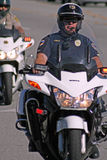 Motorcycle Cop. Police trained in roving traffic stops for the Trial Run of the 2011 Redlands Classic Stock Image