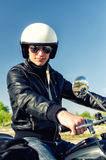 Motorcycle cop. In a helmet and goggles Royalty Free Stock Photo