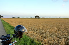 Motorcycle in the country. Motorcycle vacation in rural country Stock Photo