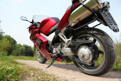 Motorcycle on country road, bottom view Stock Photo