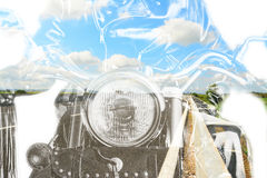 Motorcycle and country road in double exposure Royalty Free Stock Photo
