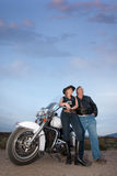 Motorcycle couple Stock Image