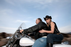 Motorcycle couple Royalty Free Stock Photos