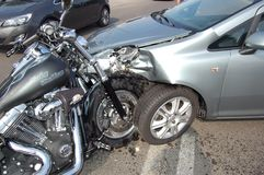 Motorcycle crash Royalty Free Stock Images