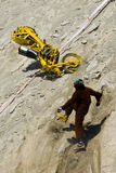 Motorcycle crash. A view of a motorcycle and rider crashing during a hill climbing competition in Estonia Stock Photos