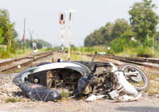 Motorcycle crash on the railroad. Royalty Free Stock Photo