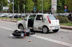 Motorcycle crash in urban area Stock Photo
