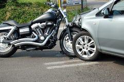 Motorcycle crash in urban area Stock Photos