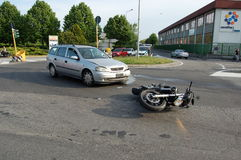 Motorcycle crash in urban area Royalty Free Stock Photography